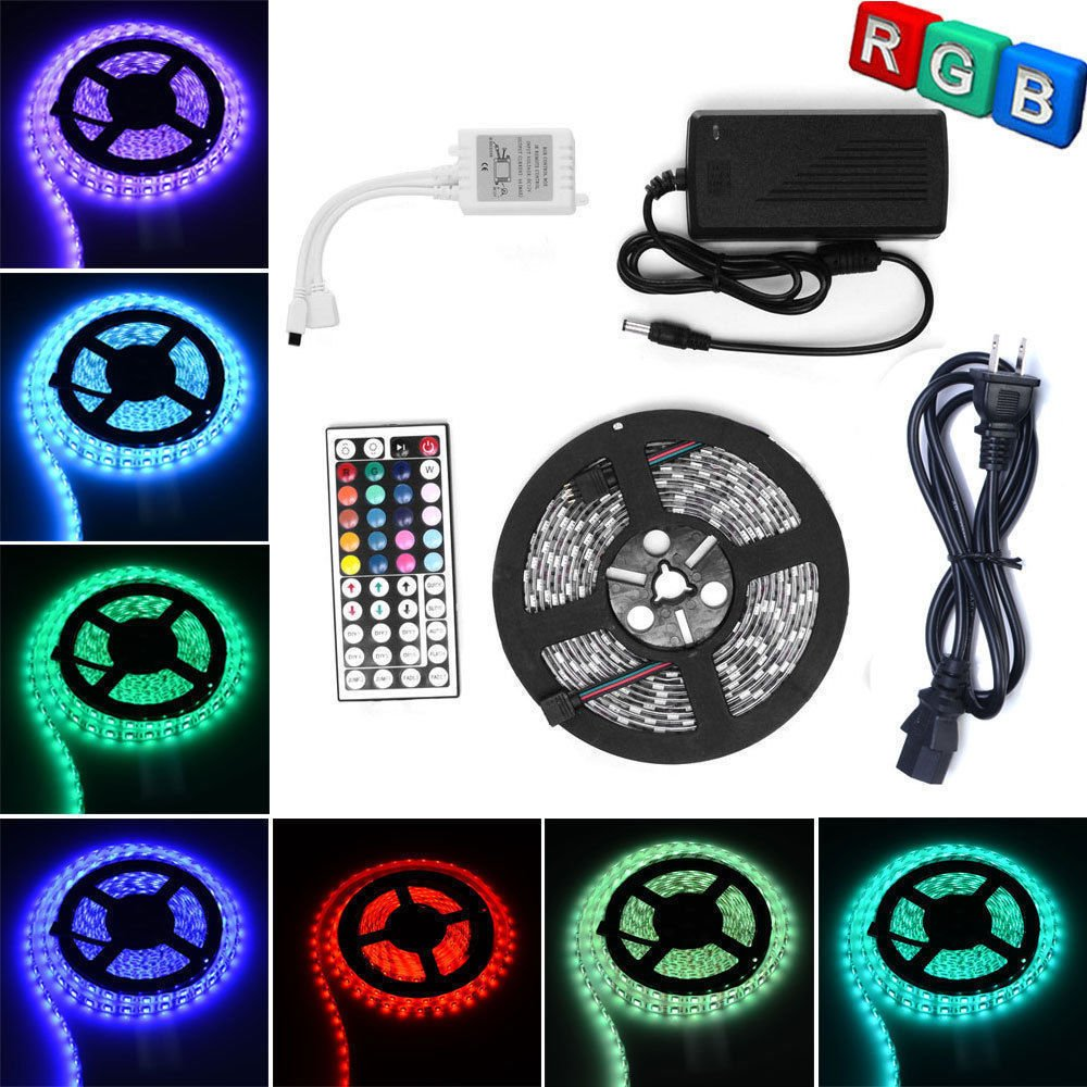 LED Strip Light ANNT RGB 5050 Flexible Light Strip 300Led Multicolor Tape Lights 16.4ft 5M SMD 44 Key Remote Supply Power Waterproof Rope Light Holiday School Party Class Wedding Car Decoration