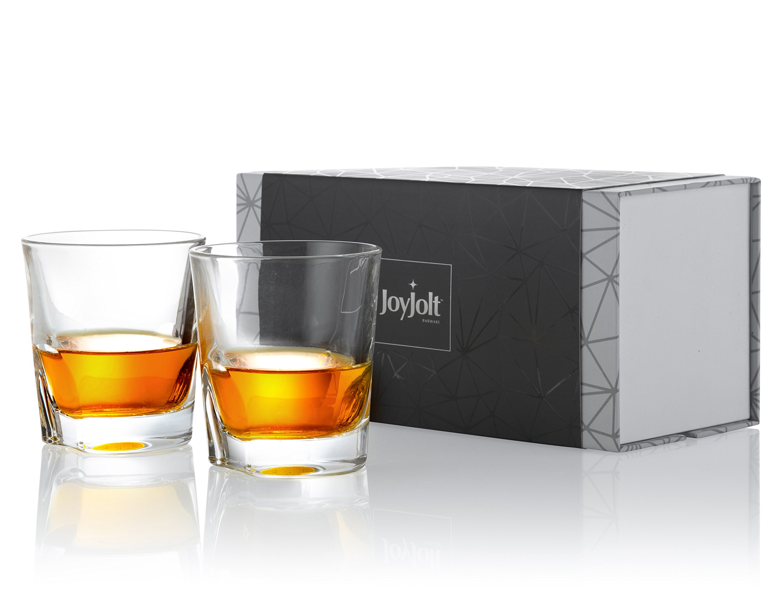 Ultra Clear Whiskey Glass for Bourbon and Liquor Set of 2 Glassware Old Fashioned Whiskey Glasses 10-Ounce JoyJolt Afina Scotch Glasses