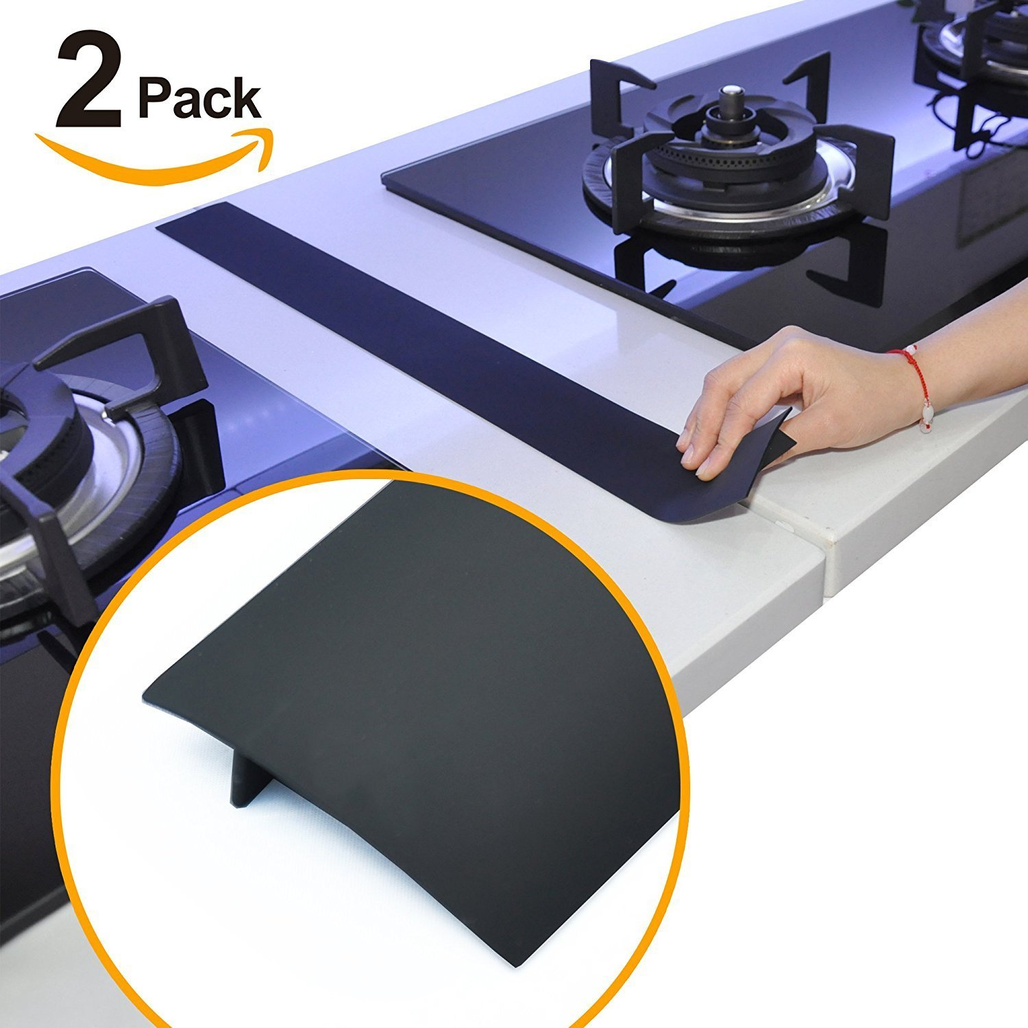 Kindga Silicone Stove Counter Gap Cover Kitchen Counter Gap Filler by 25'' Long Gap Filler Sealing Spills Between Kitchen Appliances Washing Machine and Stovetop, Set of 2(Black)