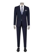 High Quality Navy Blue Wool Fabric Men's Suit
