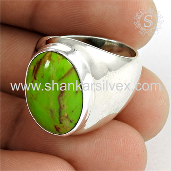 Copper turquoise gemstone popular silver ring 925 sterling silver jewelry wholesalers