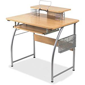 Get Quotations Office Desk In Natural Maple Finish With Upper Shelf Basket