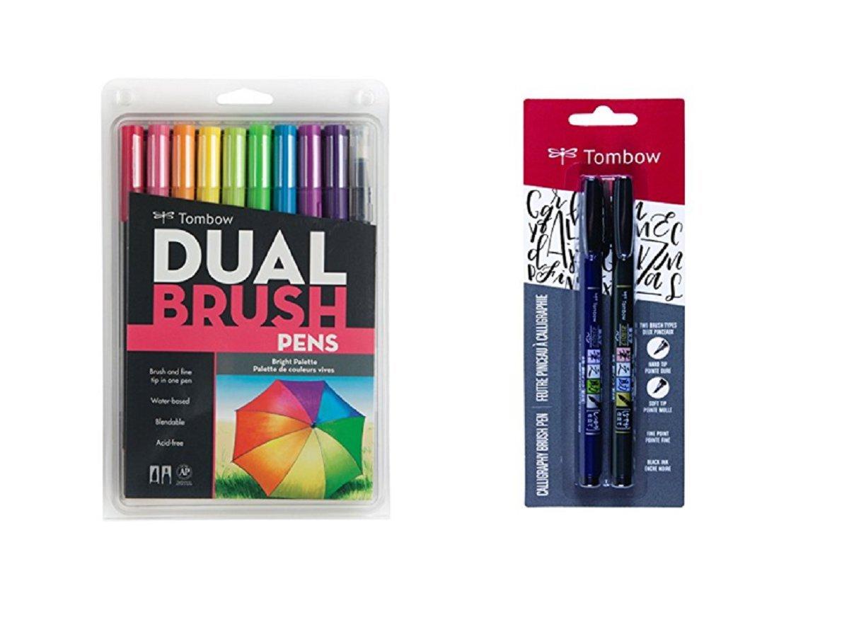 Tombow 10-Pack Dual Brush Pen Art Markers, Bright (2 Pens Set) Fudenosuke Brush Pen