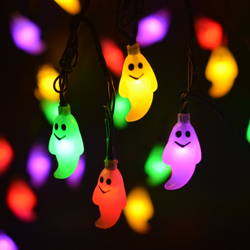 leviitec solar christmas decorations string lights 30 led waterproof cute ghost led holiday lights for