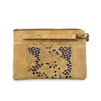 High quality Natural cork handmade Hollow Underwater Blue Bubbles_Cork Bag with strip Wooden vintage wallet Bag-279-A