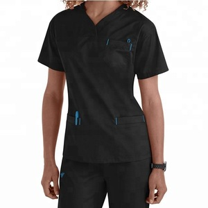 Solid Fashionable Medical Tunic Scrub Top
