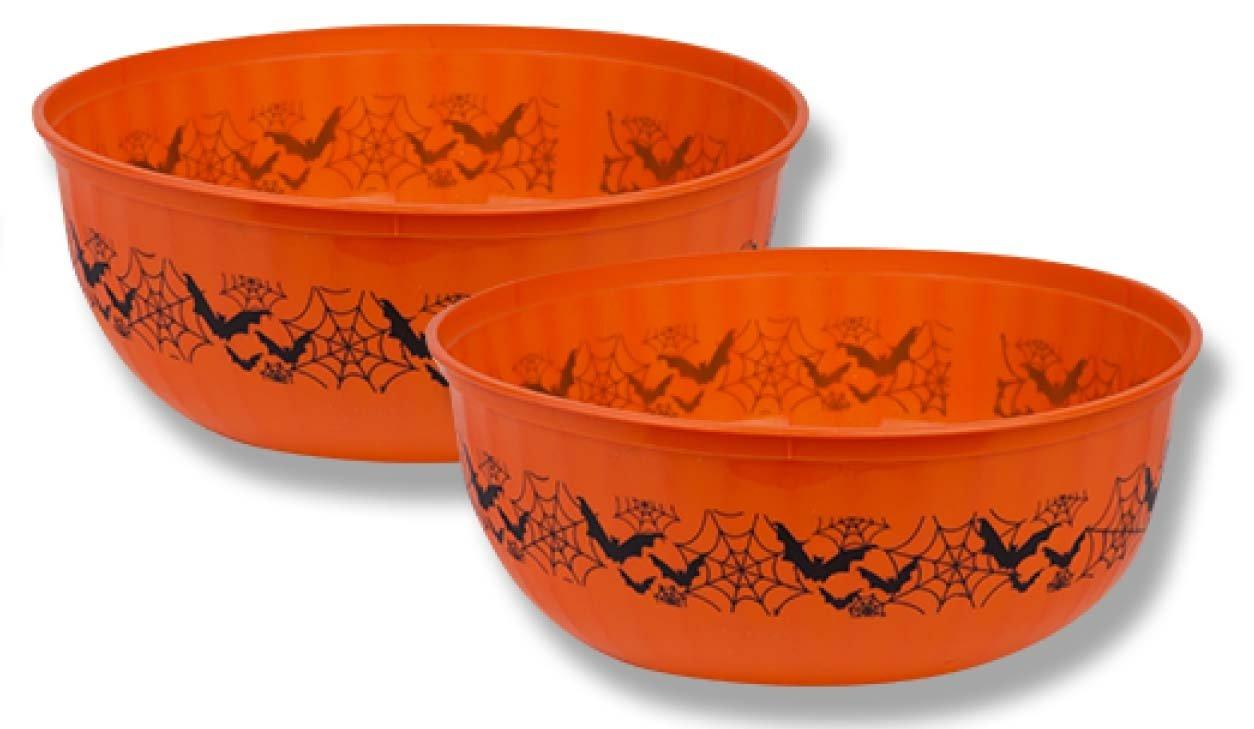 "2 x Halloween 8/"" Spiderweb Printed Transparent Plastic Fluted Bowl FREE P /& P"