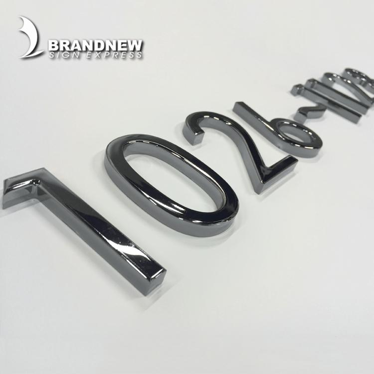 3D acrilico lettere e numeri in rilievo in metallo cromato