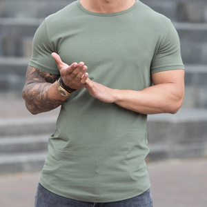 OEM workwear Supplier, bespoke t shirt manufacturer, clothing manufacturer portugal small quantity, Wholesale Mens Slim Fit Muscle T Shirt, Gym Fitness Plain Curved Hem Tee Top,