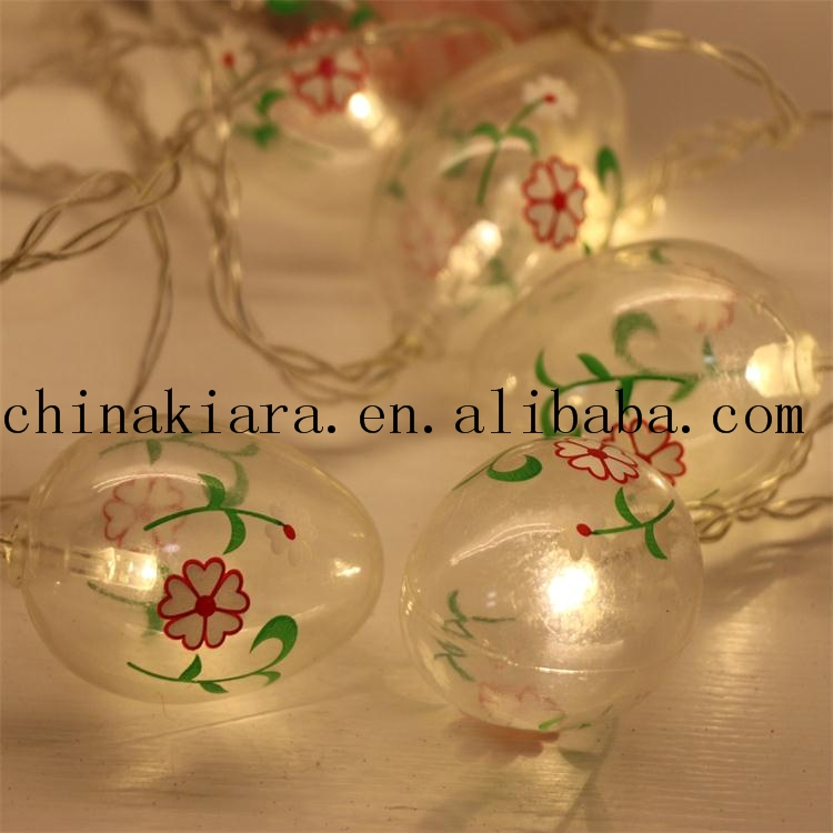 High Quality Easter Decoration 10Led Glitter Easter Eggs Led String Lights