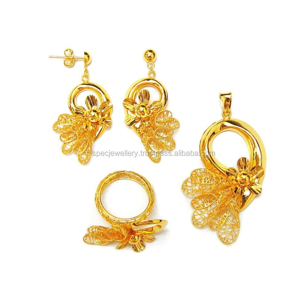 493b3e423fc93 Dubai Middle East Arabic Bridal Light Weight 18k 21k 22k Fine Yellow Gold  Jewellery Set