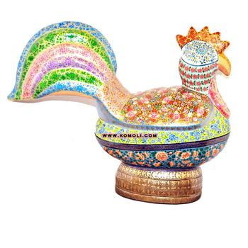 paper mache animals sculpture hand painted oversize hen shape box