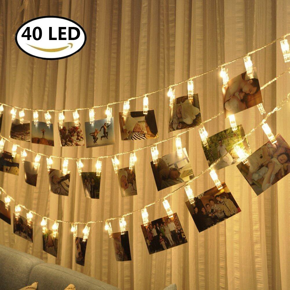 Lavince LED Photo Clips String Lights - 40 Photo Clips for Hanging Photos Cards Artwork for Indoor/Outdoor Bedroom Patio Parties Wedding Indoor Outdoor Marriage Proposal Dorm Room(Warm White)