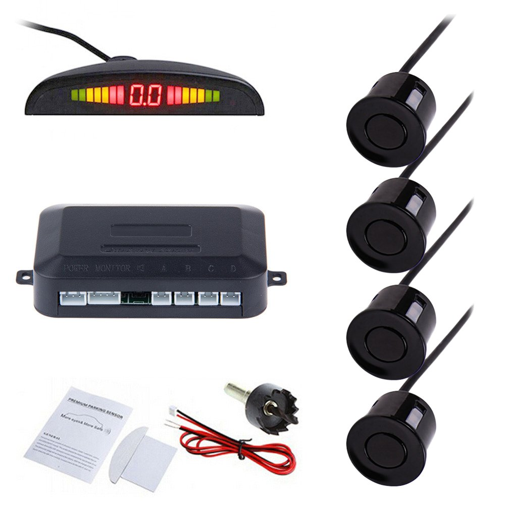 Tiemahun LED Parking Sensors Car Auto Vehicle Reverse Backup Radar System, Sound Warning, Water resistant anti-freeze, 22MM Diameter Sensor 2.3M Cable X68D (Black)