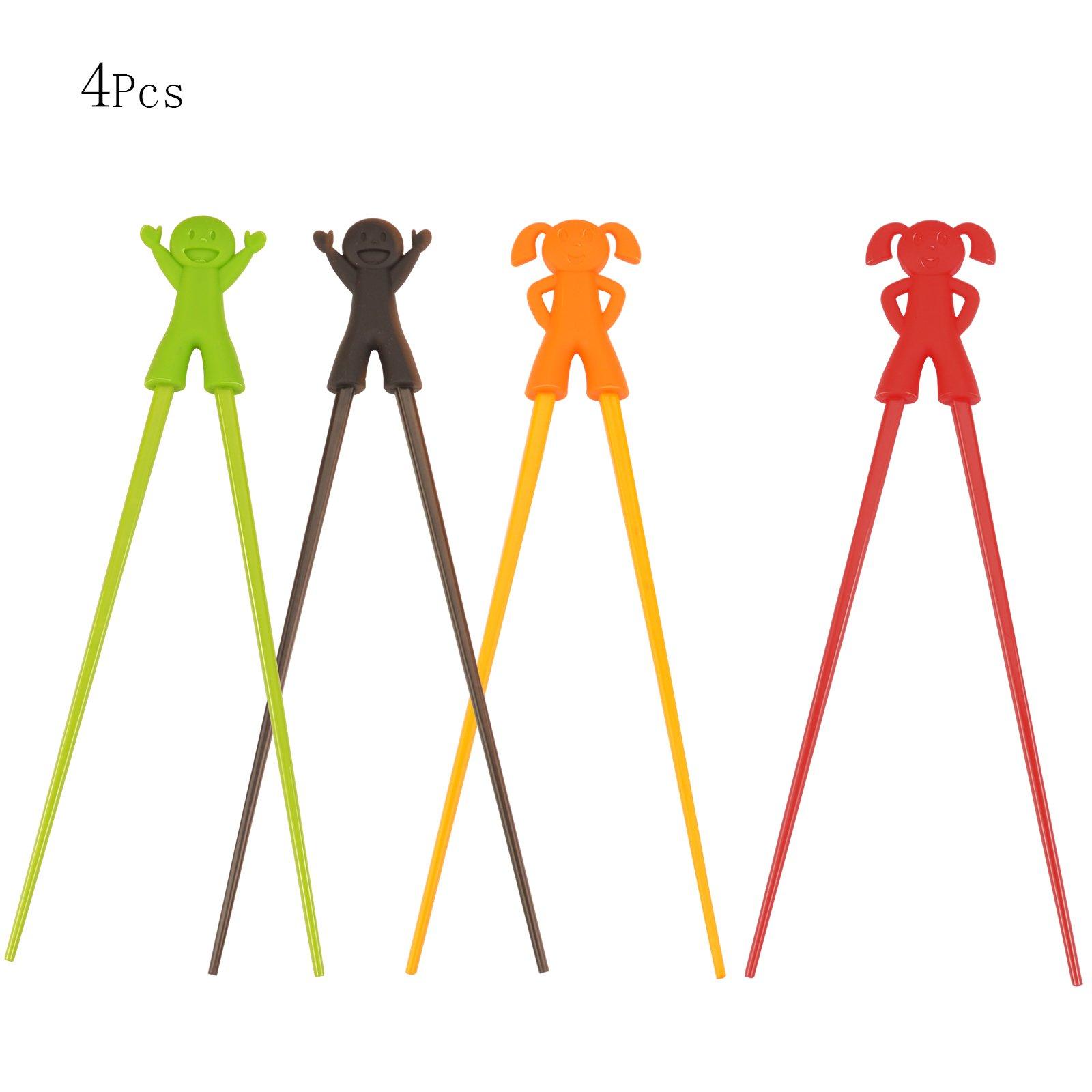 KAKOO Training Chopsticks, 4 Pairs Chopsticks Helper Cartoon Characters Serise Chopsticks Utensil Set for Kids and Adults
