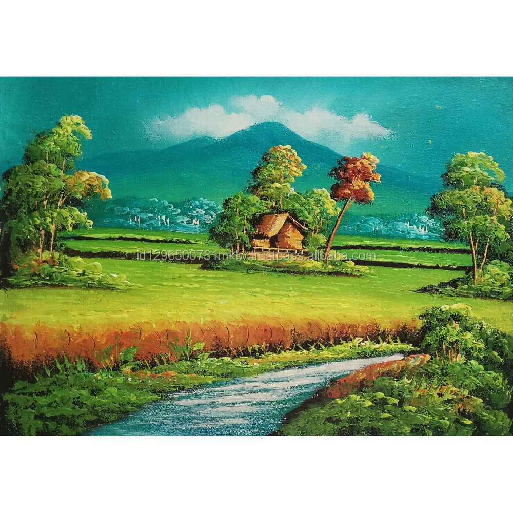 Hotel Decor Wall Art Decorative Handmade Hut and Nature Rice Field Indonesia Oil Painting