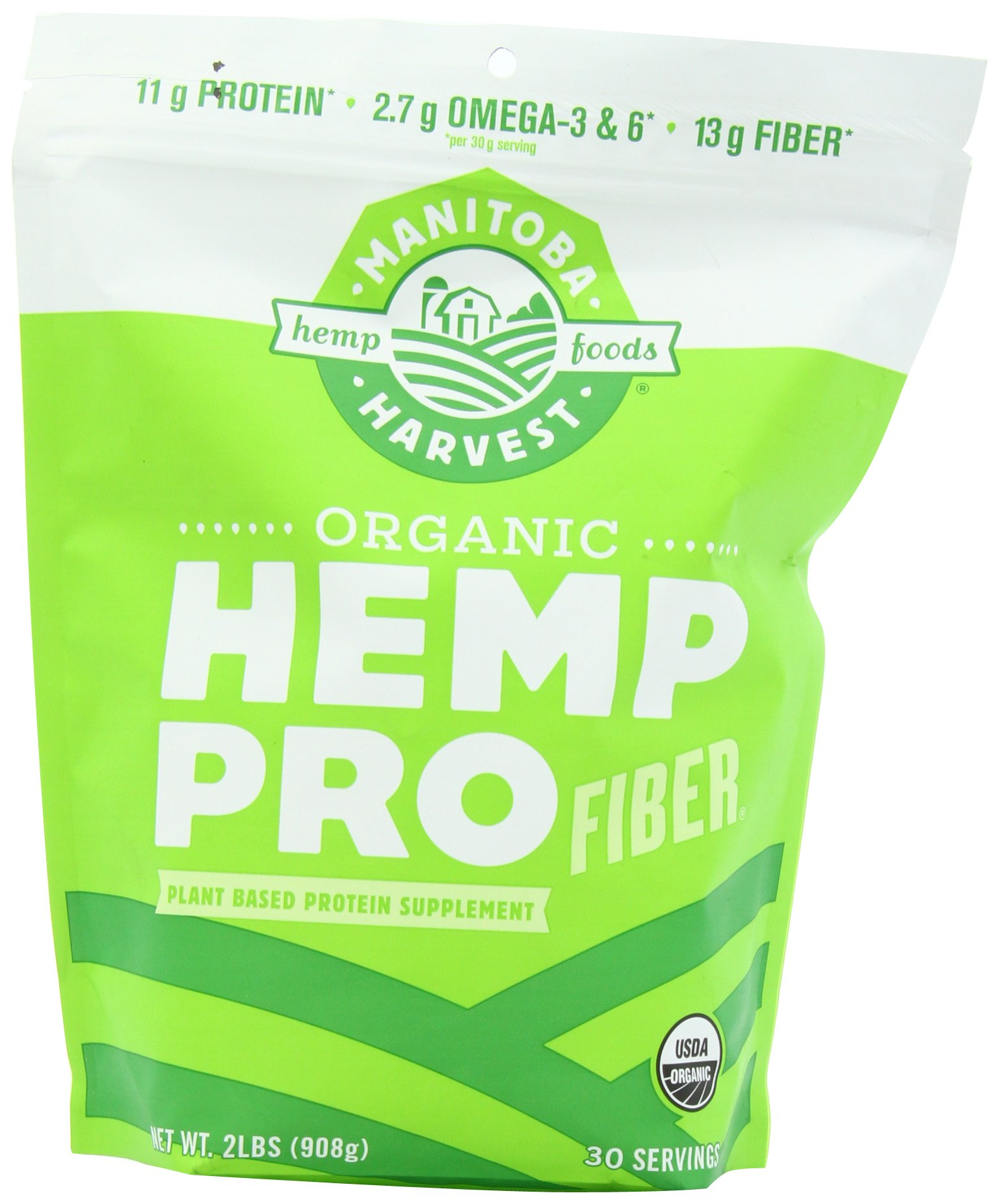 Manitoba Harvest Organic Hemp Pro Fiber Protein Powder, 32oz; with 13g Fiber & 11g Protein per serving, Preservative-Free