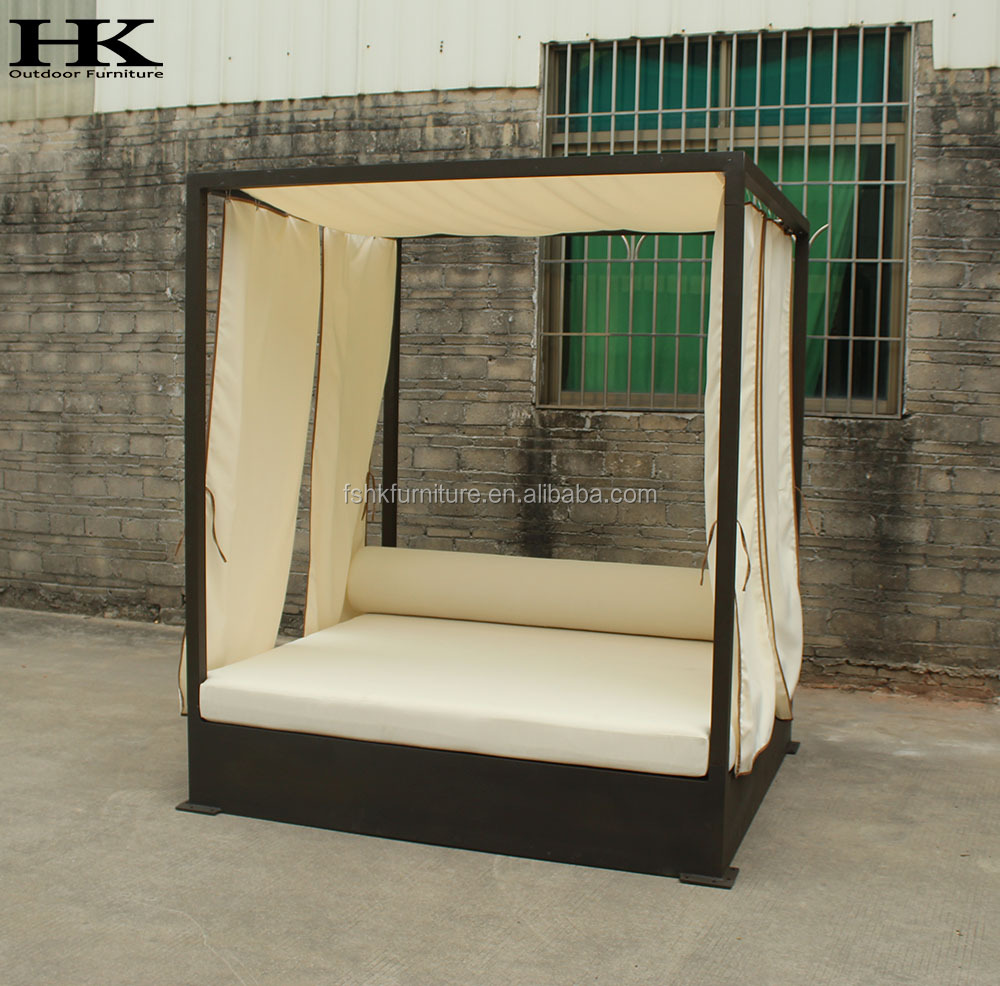 garden furniture hotel  sun lounger with shade UV-resistant aluminum frame powder coat outdoor sun bed