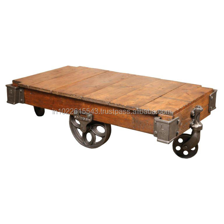 Industrial Mango Wood Coffee Table With Iron Wheels Vintage