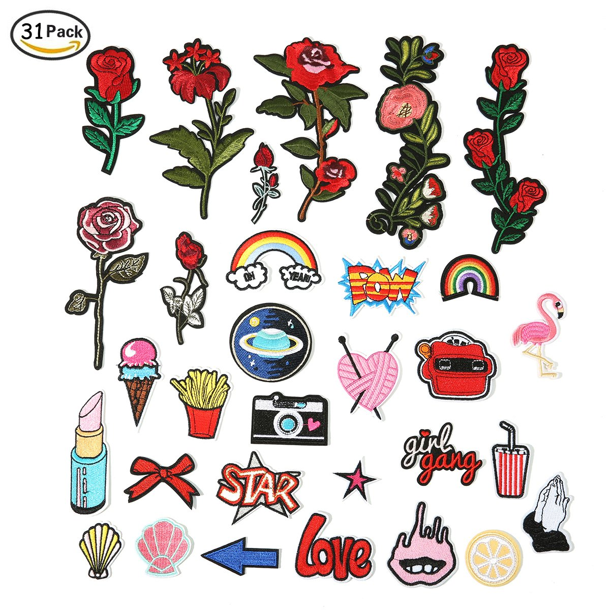 ARTISTORE Iron On Patches 31pcs Assorted Size Rose Cartoon Embroidered Motif Applique Decoration Patches DIY Sew on Patch for Jeans Clothing Denim Jeans Jacket Handbag Shoes