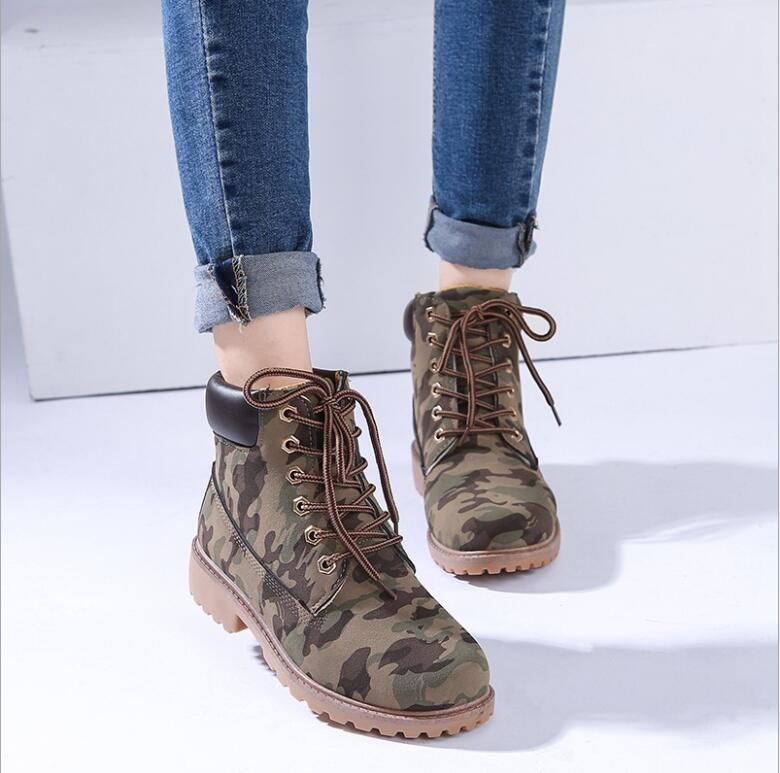 Fashion Womens Retro Winter Lace Up Boots Ladies Martin Ankle Boot Work Hiking Trail Biker Shoes