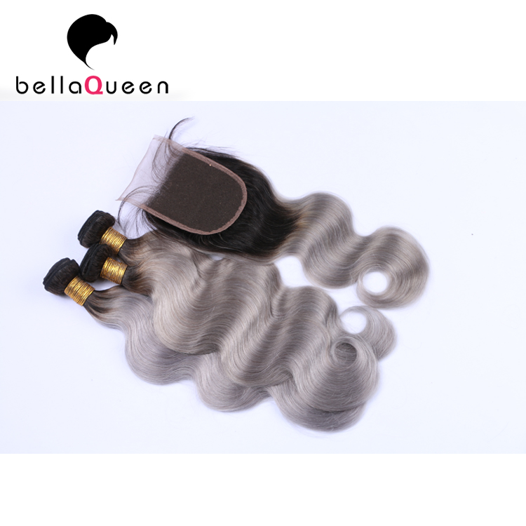 Wholesale brazilian  Body Wave 100% Human Hair Weaves Ombre Color 1B Grey Hair Extension