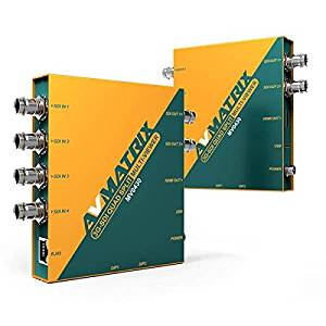 AVMATRIX MV0430 3G-SDI Quad Spilt Multiviewer with SDI & HDMI output, 3G-SDI to HDMI signal converter, 1×2 SDI distribution amplifier w/SD/HDMI output,4x1 3G-SDI switcher with SDI & HDMI output.