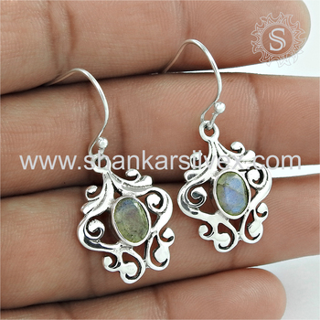 Most beautiful labradorite gemstone designer earring 925 sterling silver jewelry exporters