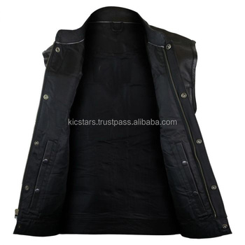 men black leather vest with inner gun pockets