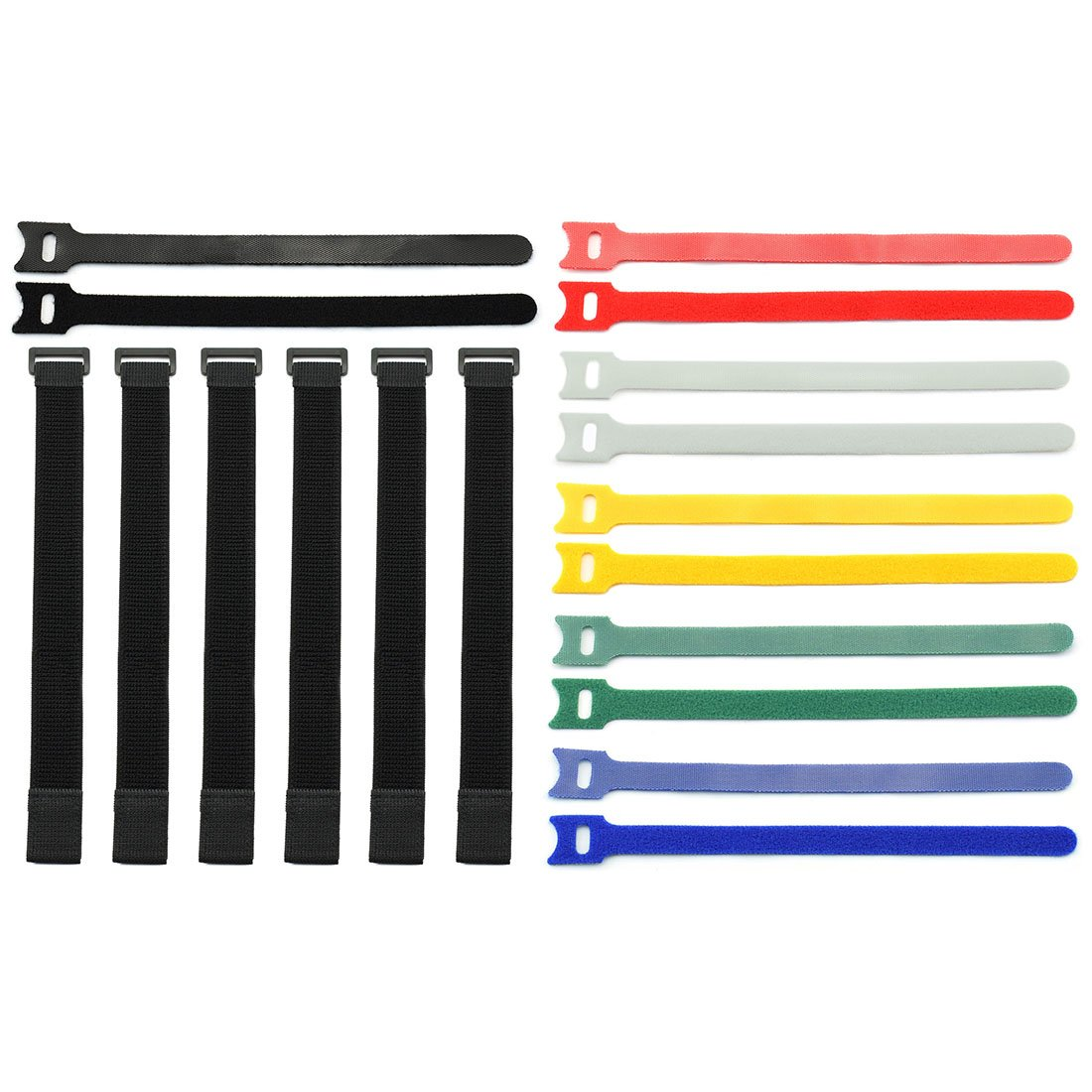 DZS Elec 18pcs Stretchy Velcro Cable Tie Nylon Cable Organizer Kit Adjustable Reusable Stretchable Loop Fastening Straps with Plastic Buckle for Home Office Multicolor Fastening Cable Ties Set