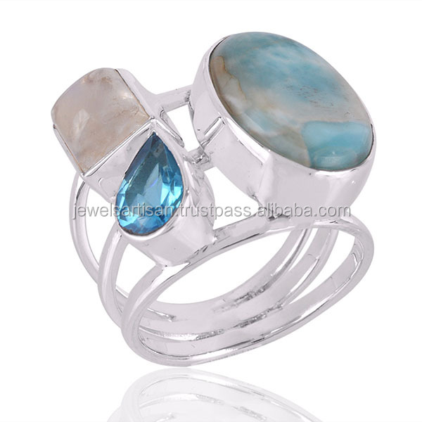 4430ecd964aa Larimar And Rainbow Moonstone With Swiss Blue Topaz Gemstone 925 Sterling  Silver Ring