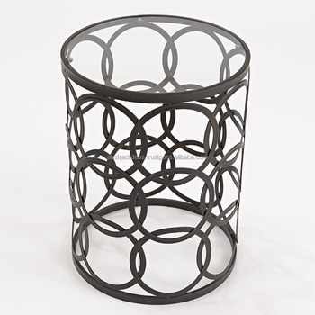 Round Side Coffee Table Metal Frame, Glass Top Modern Luxury Accent  Furniture Barrel / Drum
