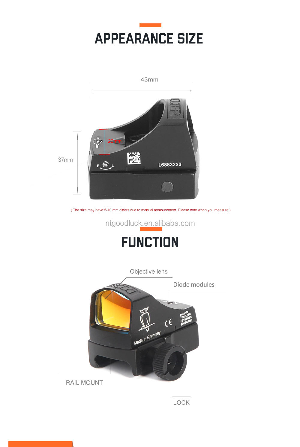 HY   DOC Red Dot Riflescope Micro Dot Reflex Holographic Laser Sight Scope
