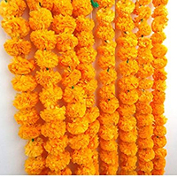 5 Feet Long Strands Marigold Garlands, Orange Flower Garland, Indian Wedding Flowers