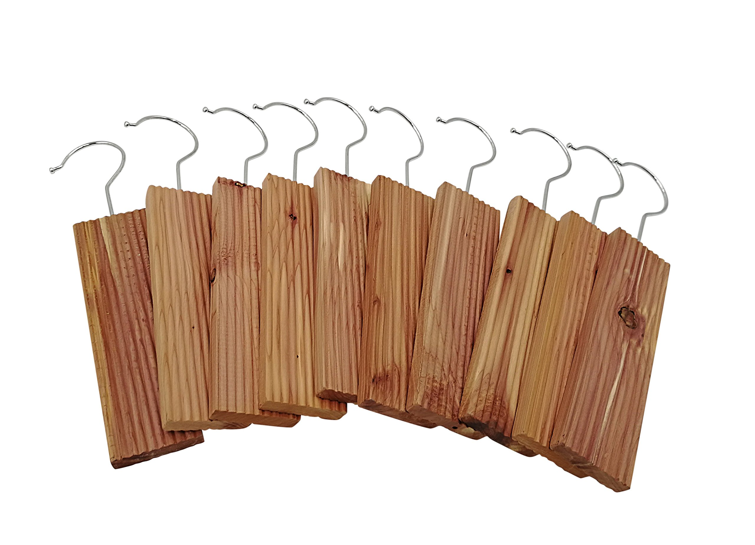 Opulic Red Cedar Blocks with Detachable Metal Hooks - Set of 10 Large Hanging Cedar Wood Blocks, A Natural Pest and Moth Repellent for Wardrobe, Closets and Drawers, Providing Protection for Clothes