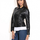 Women's Biker Jacket Quilted Panels Shoulders Cuff Back Low Price