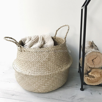 Seagrass belly storage basket/ Foldable laundry basket wholesale