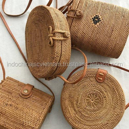 rotin rond sac vietnam cercle de paille sac de plage d 39 t. Black Bedroom Furniture Sets. Home Design Ideas