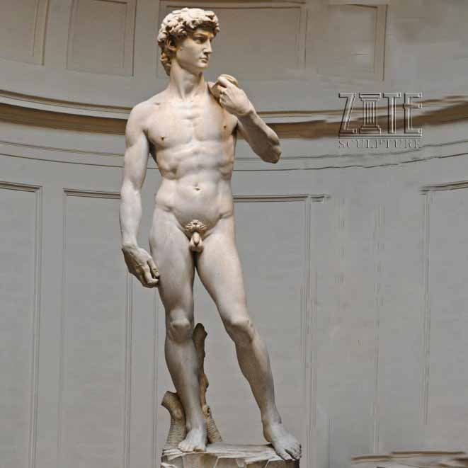 Life size figure art decoration stone sculpture marble statue of david