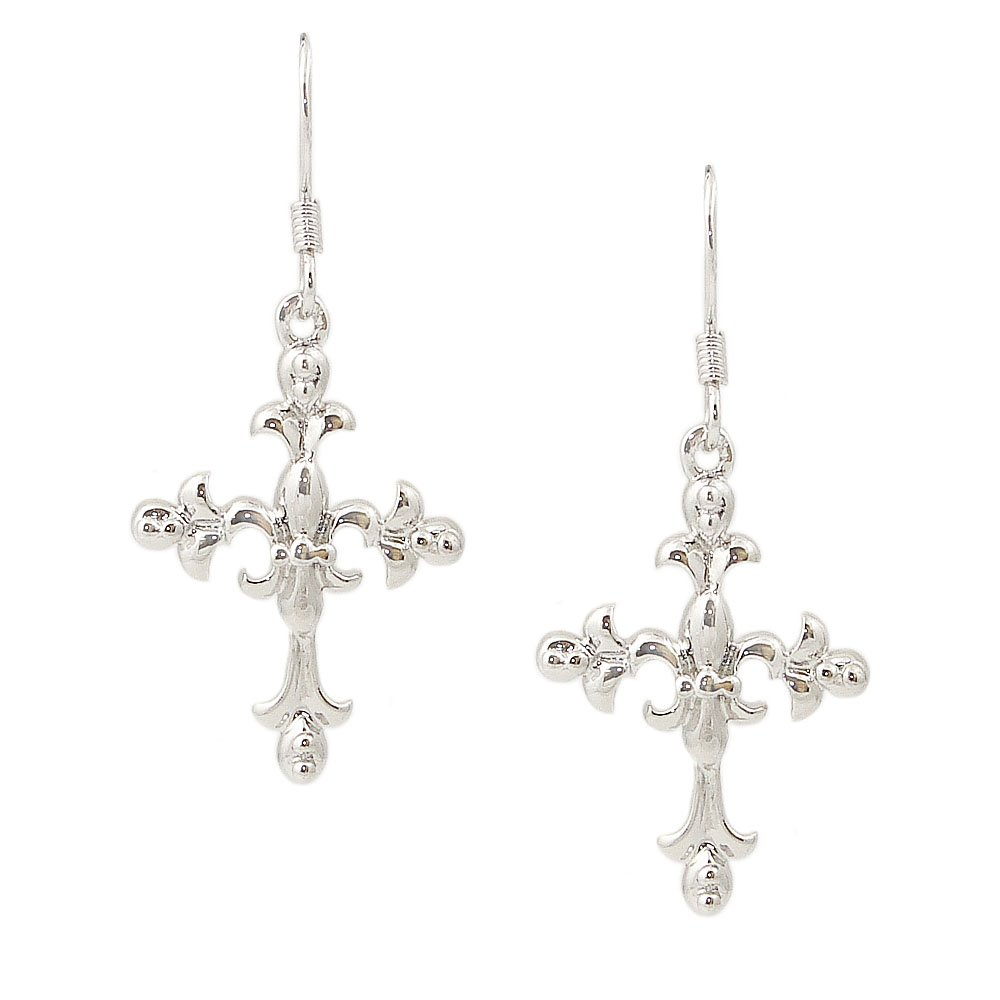 6f3cb094d Get Quotations · Sterling Silver plain cross with Fleur de Lis Fish wire  Earrings: 100% Hypoallergenic &
