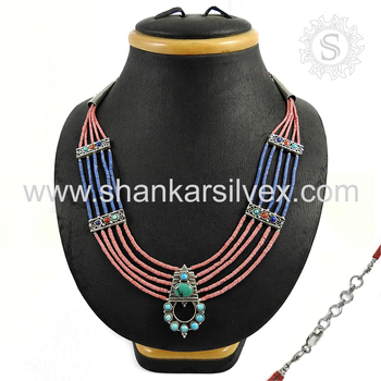 Fundamental multi gemstone necklace indian jewelry handmade 925 sterling silver necklaces jewellery wholesale