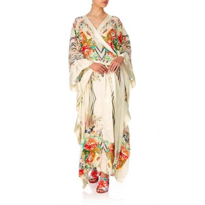 Crossover embellished Print Kaftan Tie Wrap front style Long dress perfect woman kimono Contrast trims waist party dress