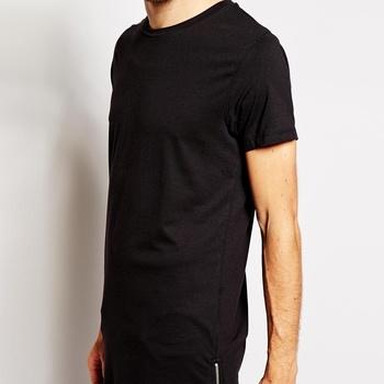 6bb26099 Longline cotton t shirt/elongated t shirt/oversized bulk blank pocket t  shirt wholesale