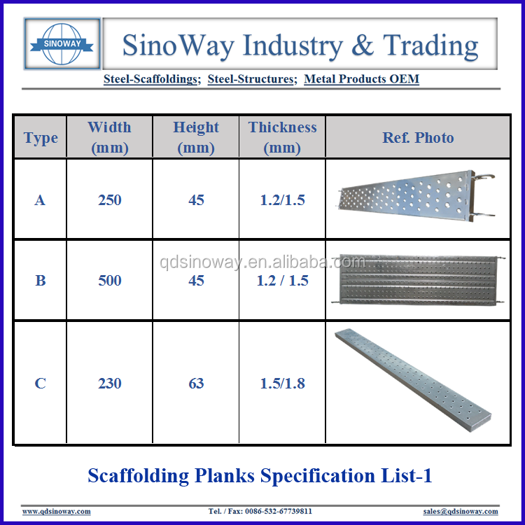 Hot Sale High Quality Metal Steel Catwalk Walking Planks Platforms for Scaffoldings
