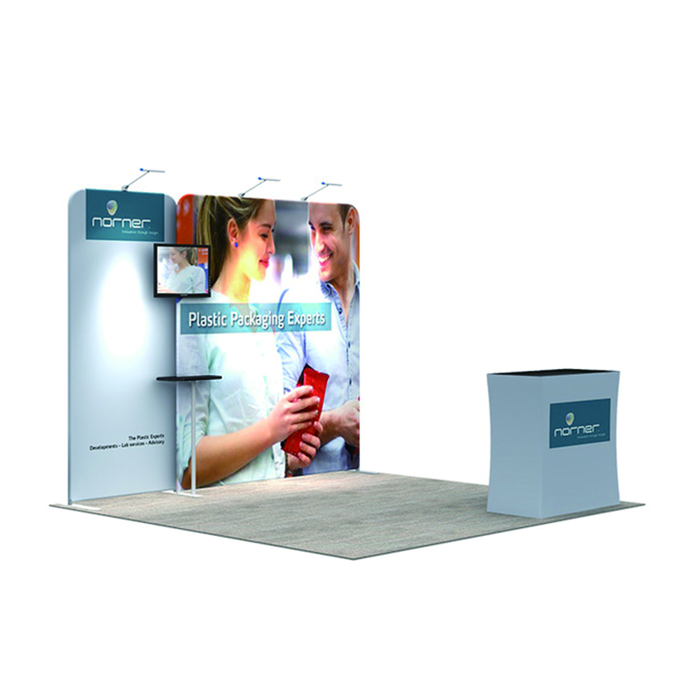 10ft strength Advertising aluminum stand 250g knitted polyester trade show wall pop up banner printing