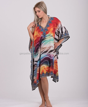 37eb721b439 Digital Print Art Silk Poncho short Plus Size Beach Cover Up