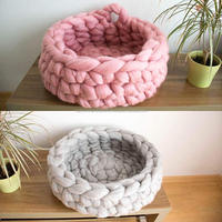 Colorful handmade crocheted furniture cave basket cat bed
