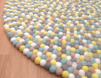 boule de feutre tapis ppinire tapis pom pom 100 laine tapis multicolore tapis - Tapis Multicolore