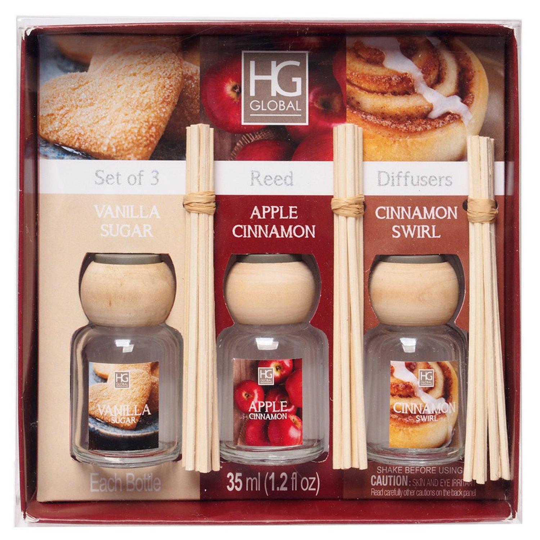 Hosley Aromatherapy Set of 3 Reed Diffuser Reed Diffusers, Vanilla Sugar, Apple Cinnamon, Cinnamon Swirl Ideal GIFT for Weddings, Spa Reiki Meditation Bathroom, Votive Candle Garden Settings W1