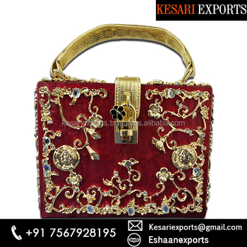 Designer Ethnic Style Red Color Funky Bag
